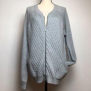 Calvin Klein Bomber Style Zip Cardigan Gray